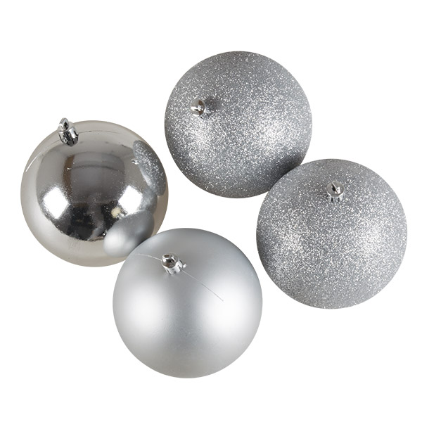 Mixed Finish Silver Shatterproof Baubles - 4 X 100mm