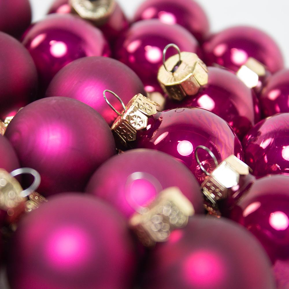 Deep Magnolia Pink Matt & Shiny Glass Baubles - 24 X 25mm