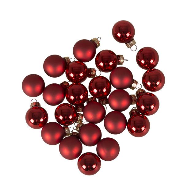 Christmas Red Matt & Shiny Glass Baubles - 24 X 25mm