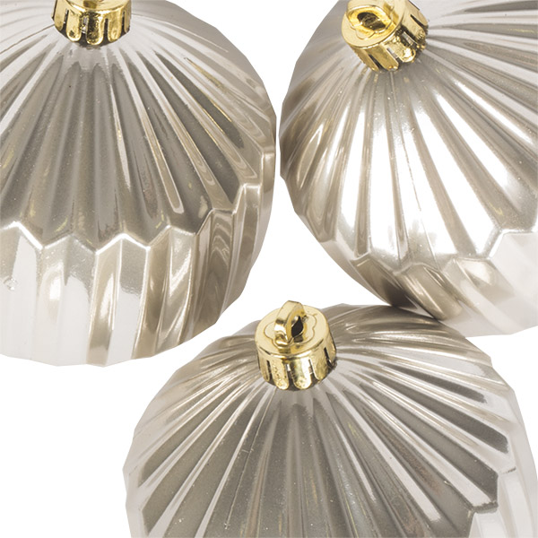 Pearl Geometric Shaped Ribbed Shatterproof Baubles - Pack of 3 x 80mm