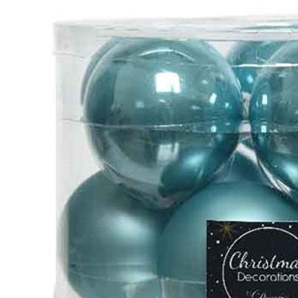 Tub Of Arctic Blue Shiny & Matt Glass Baubles - 10 X 60mm