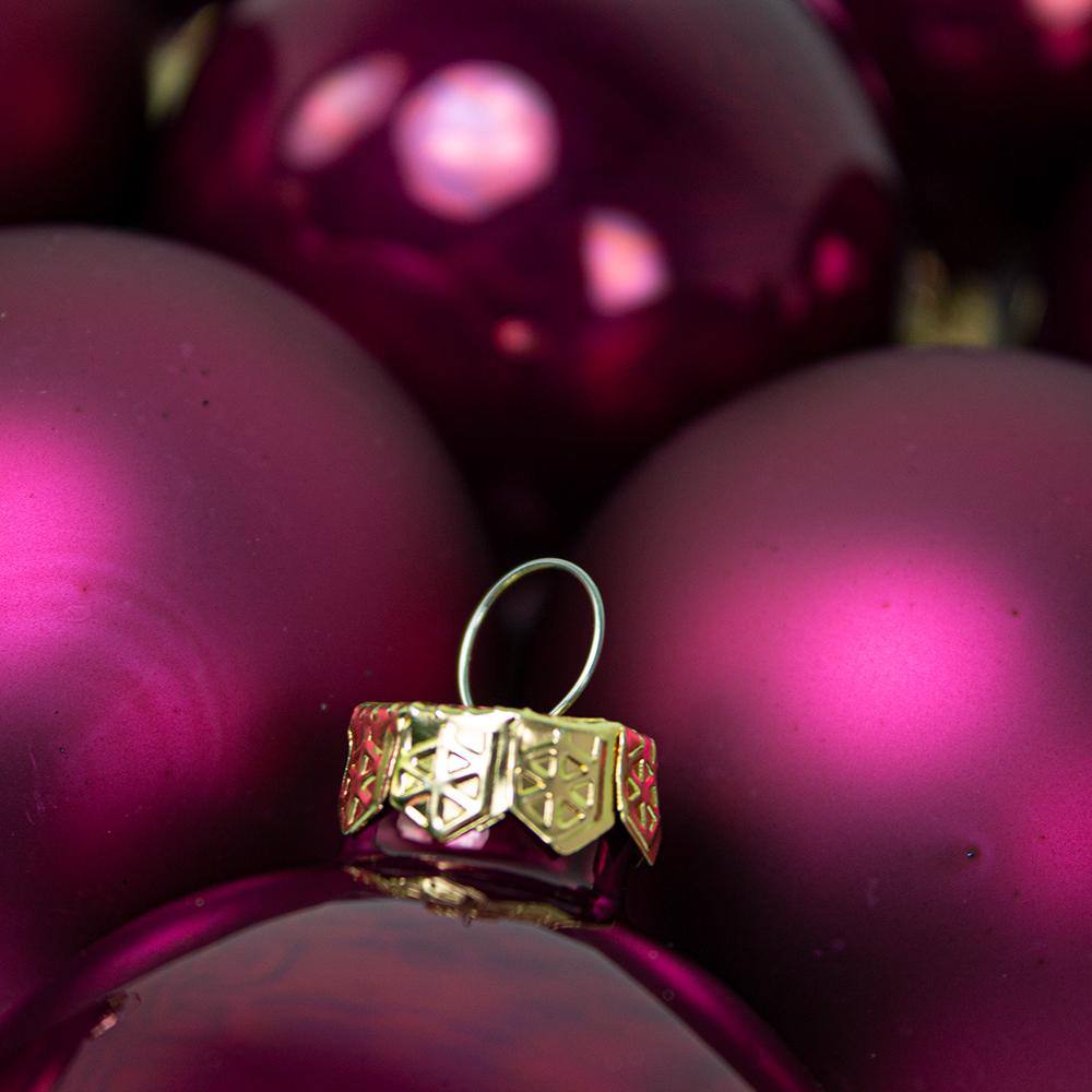 Tub Of Deep Magnolia Pink Shiny & Matt Glass Baubles - 10 X 60mm