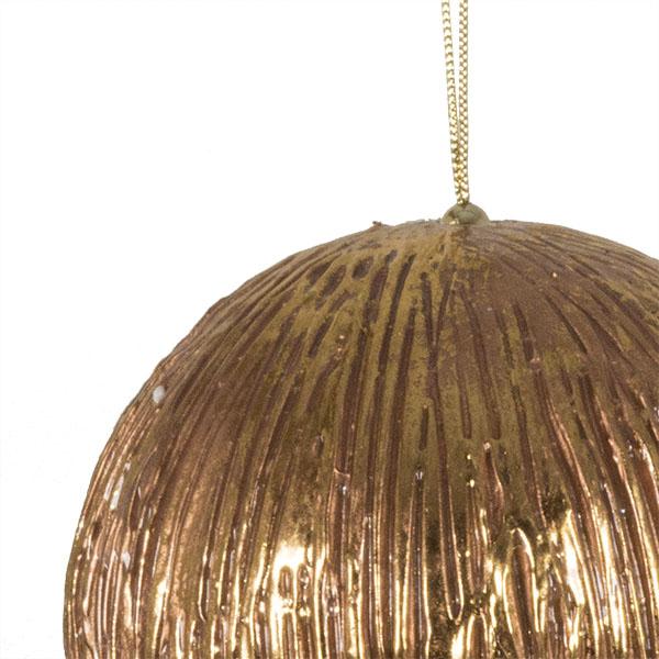 Antique Copper Finish Metallic Bauble - 12cm