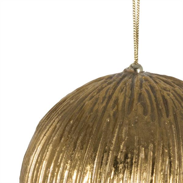 Antique Gold Finish Metallic Bauble - 12cm
