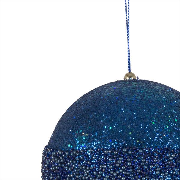 Blue Glitter Beaded Bauble - 100mm