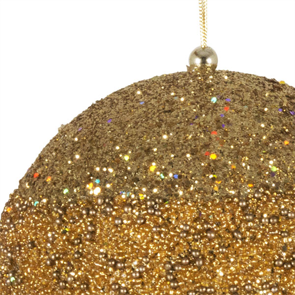 Gold Glitter Beaded Bauble - 100mm