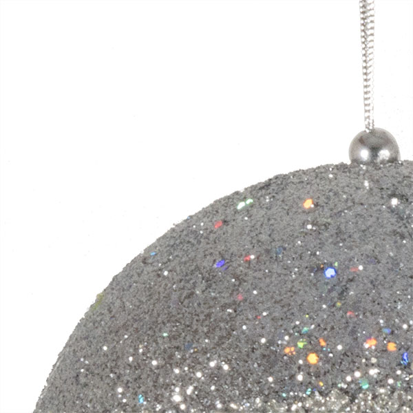 Silver Glitter Beaded Bauble - 100mm