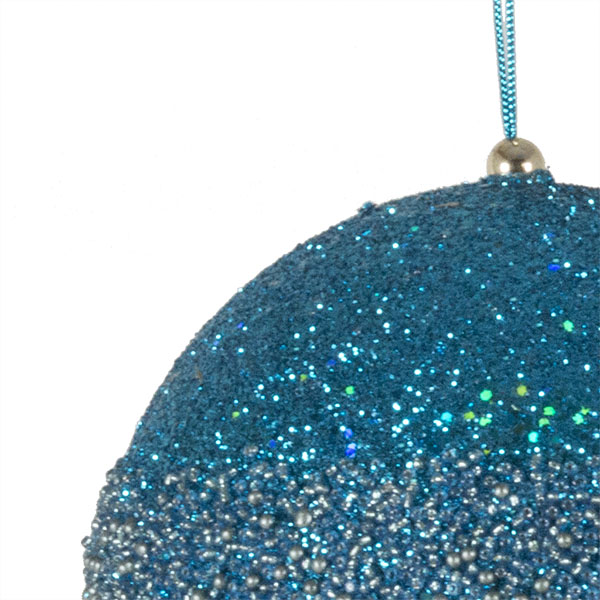 Turquoise Glitter Beaded Bauble - 100mm