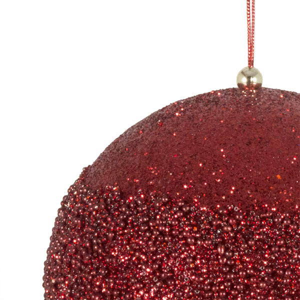Red Glitter Beaded Bauble - 175mm