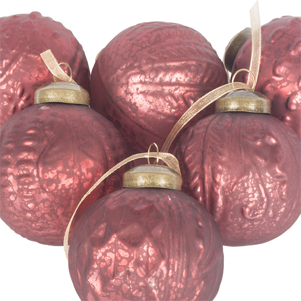 Pack Of 6 Patterned Dark Red Glass Baubles - 60mm