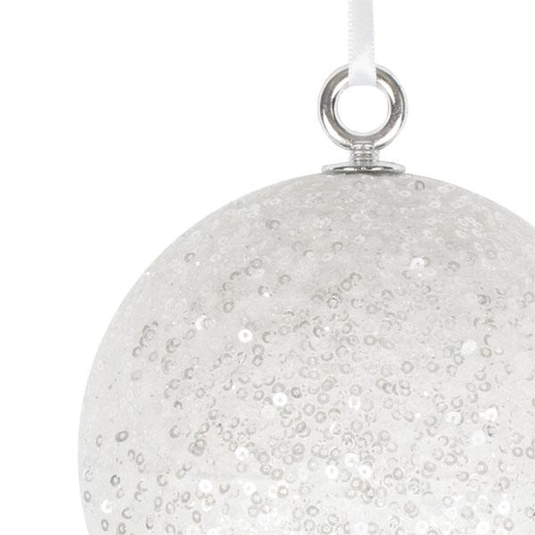 White Sequin Ball Hanger - 140mm