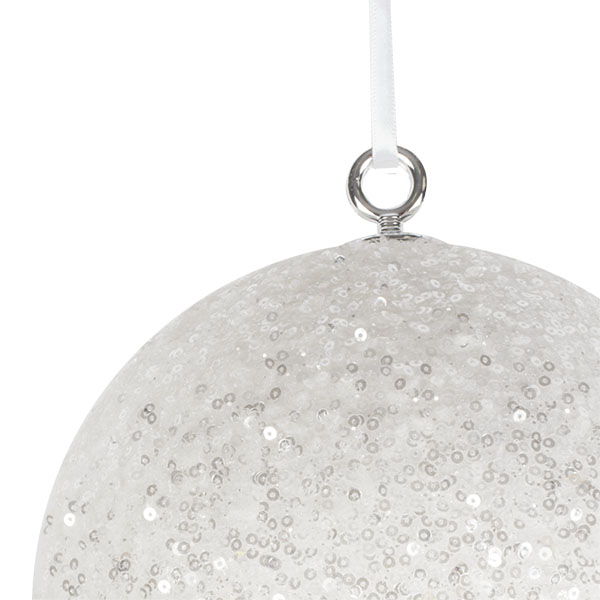 White Sequin Ball Hanger - 200mm
