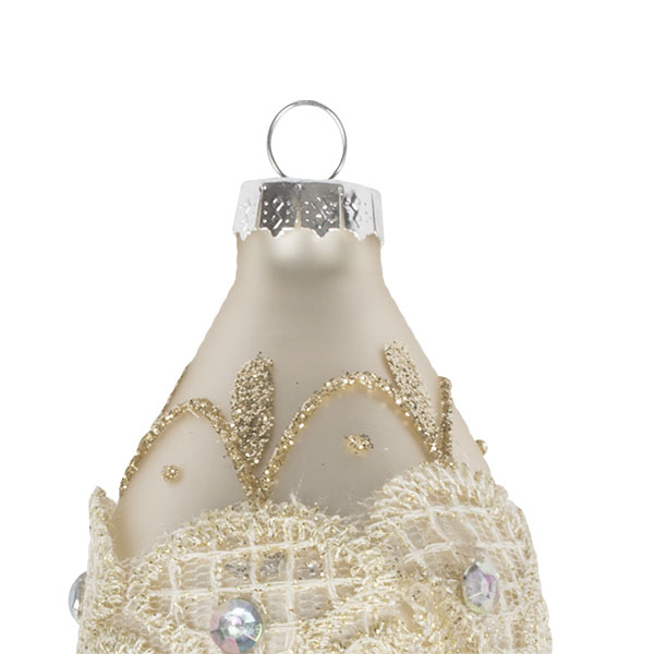 Matt Ivory Glass Bauble Decorated With Gold Glitter And Beads - Drop