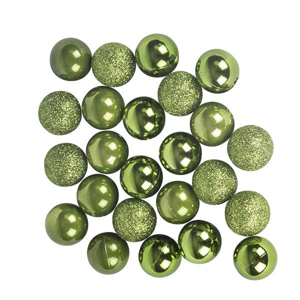 Green Mixed Finish Shatterproof Baubles - 24 X 30mm