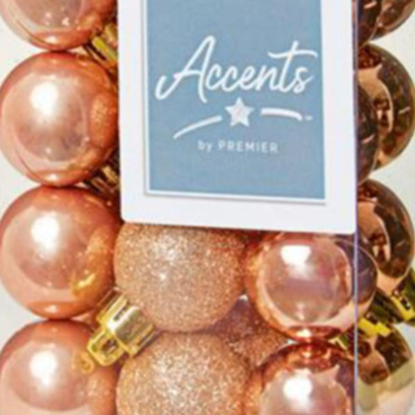 Rose Gold Mixed Finish Shatterproof Baubles - 24 X 30mm