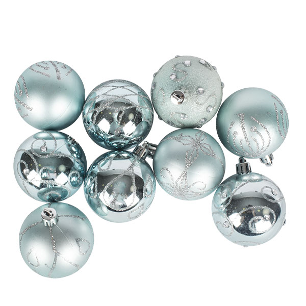 Pack Of Ice Blue Decorated Shatterproof Baubles - 9 X 60mm