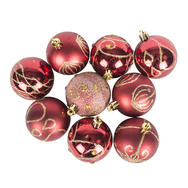 Pack Of Red Decorated Shatterproof Baubles - 9 X 60mm