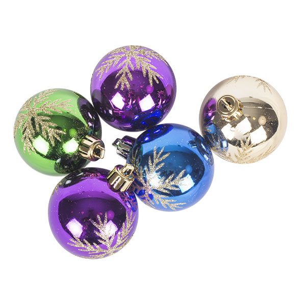Tube Of Multi Coloured Decorated Shatterproof Baubles - 5 X 60mm