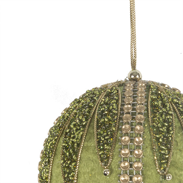 Olive Green & Gold Velvet & Beaded Bauble - 100mm