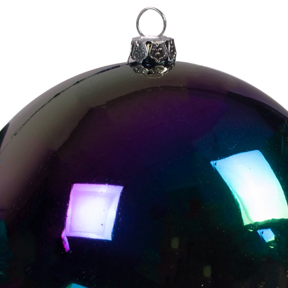 Black Tinted Shatterproof Baubles With Iridescent Finish - Pack Of 4 X 100mm