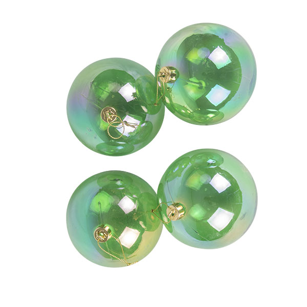 Green Tinted Shatterproof Baubles With Iridescent Finish - Pack Of 4 X 100mm