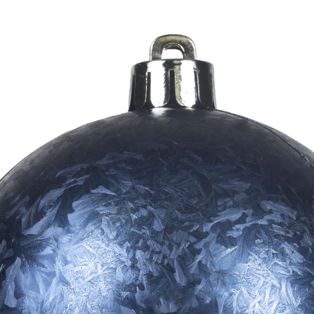 Night Blue Ice Lacquer Finish Shatterproof Baubles - 3 X 80mm