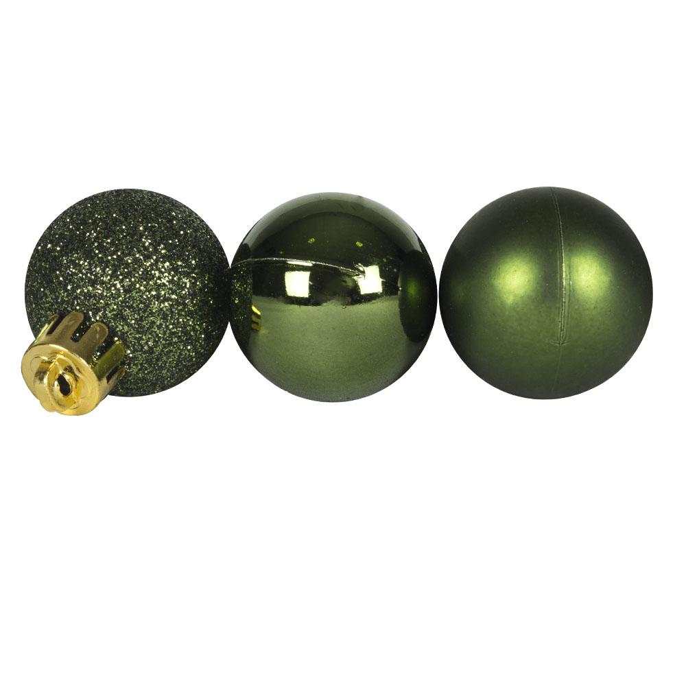 Tube Of Plain Dark Green Shatterproof Baubles - 14 X 30mm
