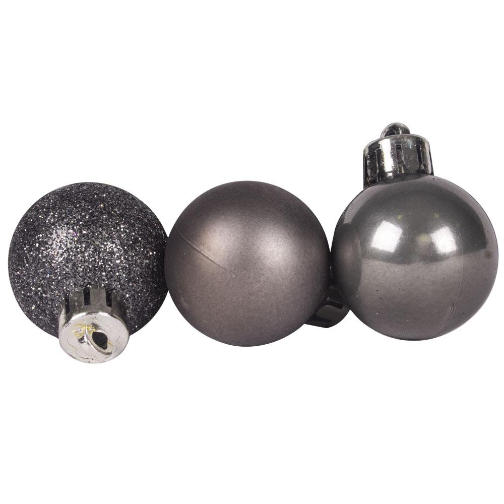 Tube Of Plain Stone Grey Shatterproof Baubles - 15 X 30mm