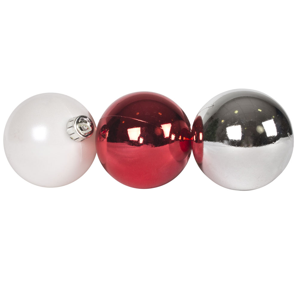 Tube Of Red, White & Silver Assorted Shatterproof Baubles - 10 X 60mm