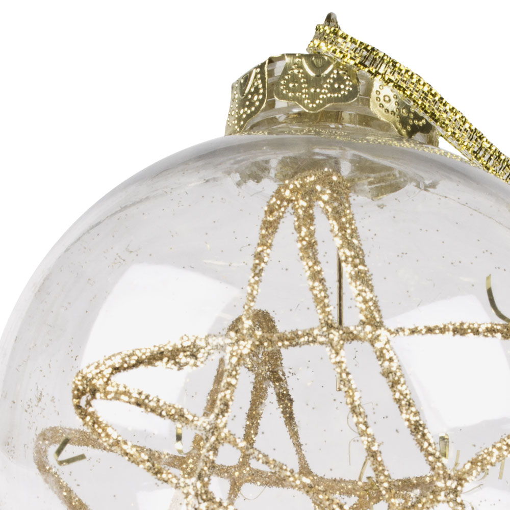 Clear Shatterproof Bauble With Gold Glitter Motif & Gold Glitter Flakes - 80mm