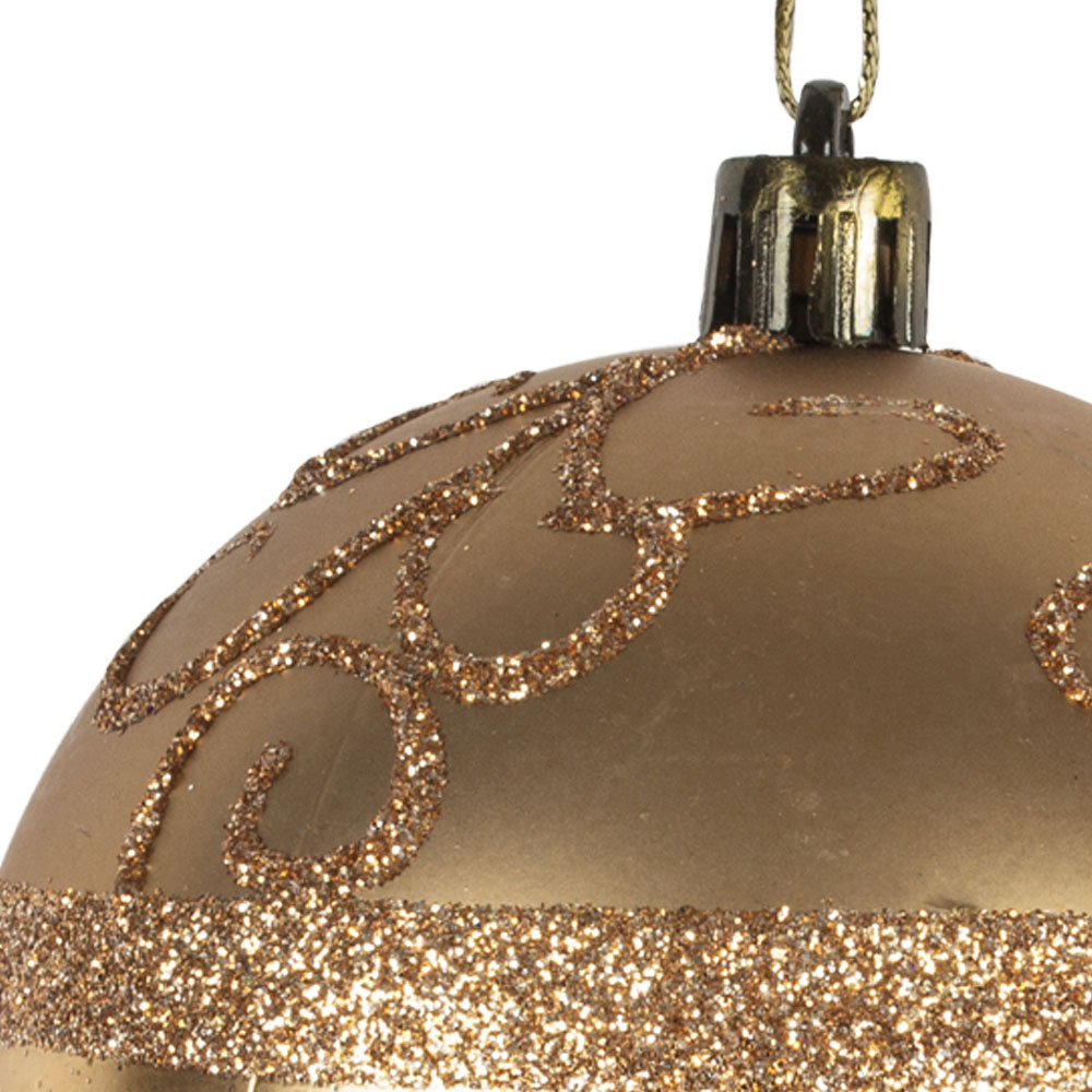 Dark Gold Shatterproof Bauble With Glitter Pattern - 80mm