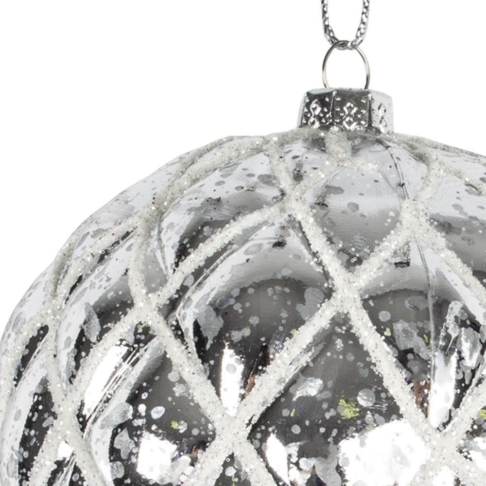 Stone Grey Shiny Quilted Shatterproof Bauble - 80mm