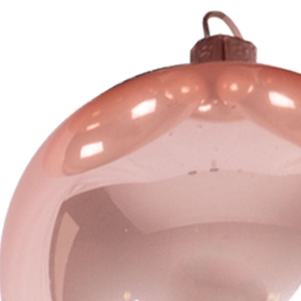 Box Of Blush Pink Enamel Finish Glass Baubles - 6 X 80mm