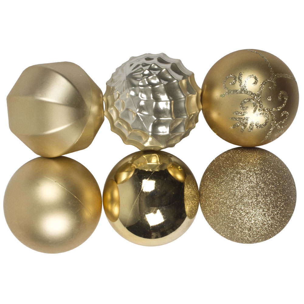 Pack Of 50 Assorted Finish Shatterproof Baubles - 80mm