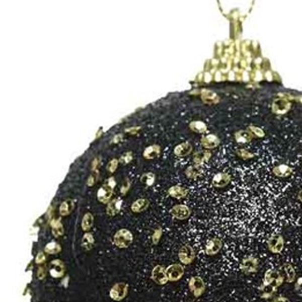 Black Glitter And Sequin Finish Bauble - 80mm