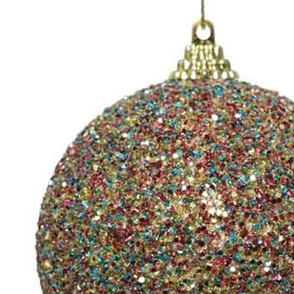 Multicoloured Glitter And Sequin Finish Bauble - 80mm