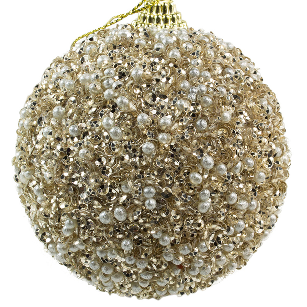 Soft Caramel Glitter And Sequin Finish Bauble - 80mm