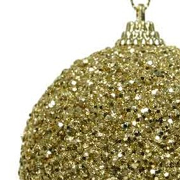 Shatterproof Bauble With Gold Glitter Finish - 80mm