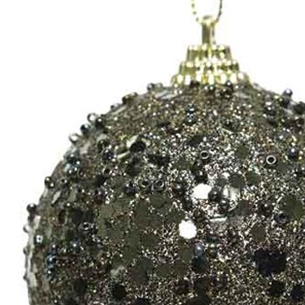 Shatterproof Bauble With Moss Green Glitter Finish - 80mm