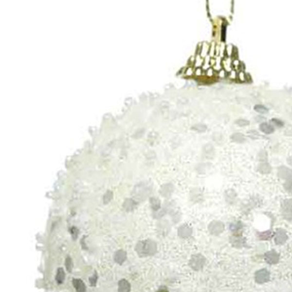 Shatterproof Bauble With Ivory Glitter Finish - 80mm