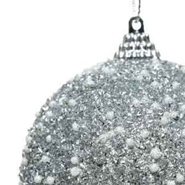 Silver And Pearl Shatterproof Bauble - 80mm