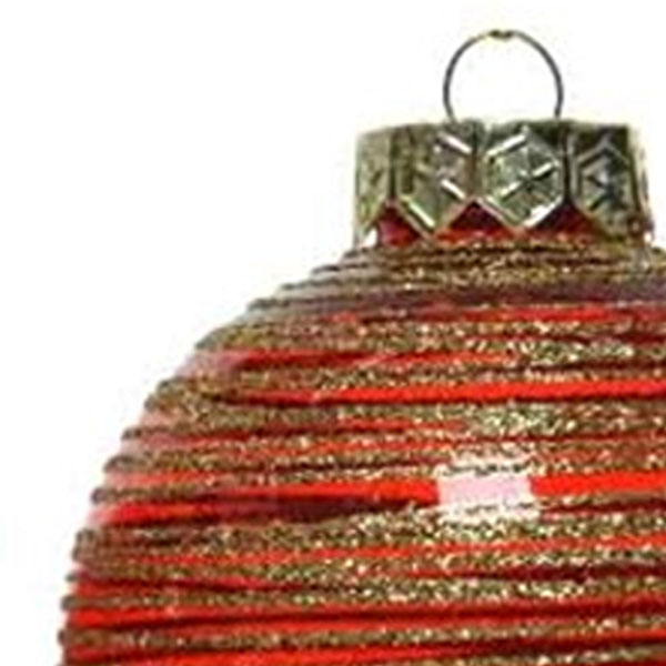 Red Tinted Transparent Shatterproof Bauble With Glitter Stripes - 80mm