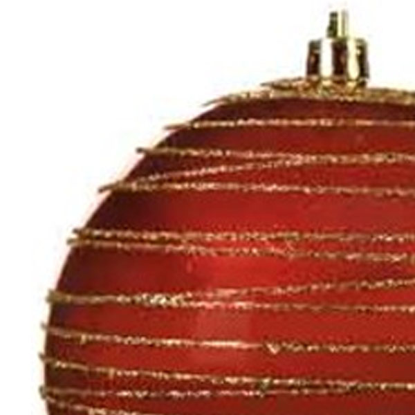 Red Shiny Shatterproof Bauble With Gold Glitter Stripes - 100mm