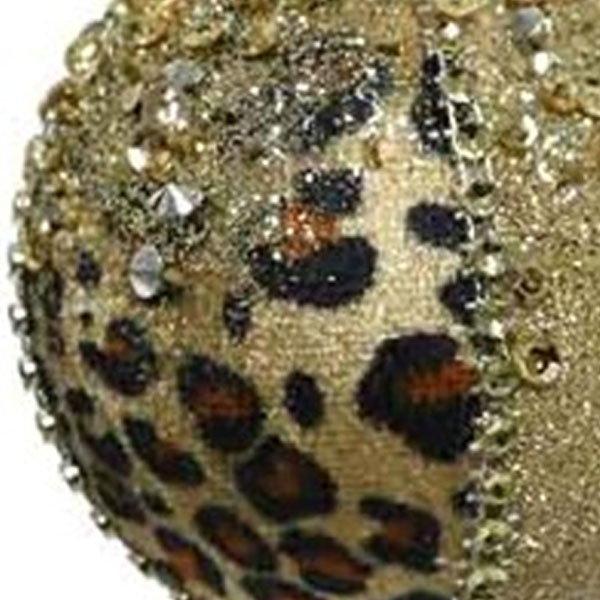 Opulent Leopard Print Bauble With Sequins And Beads - 80mm