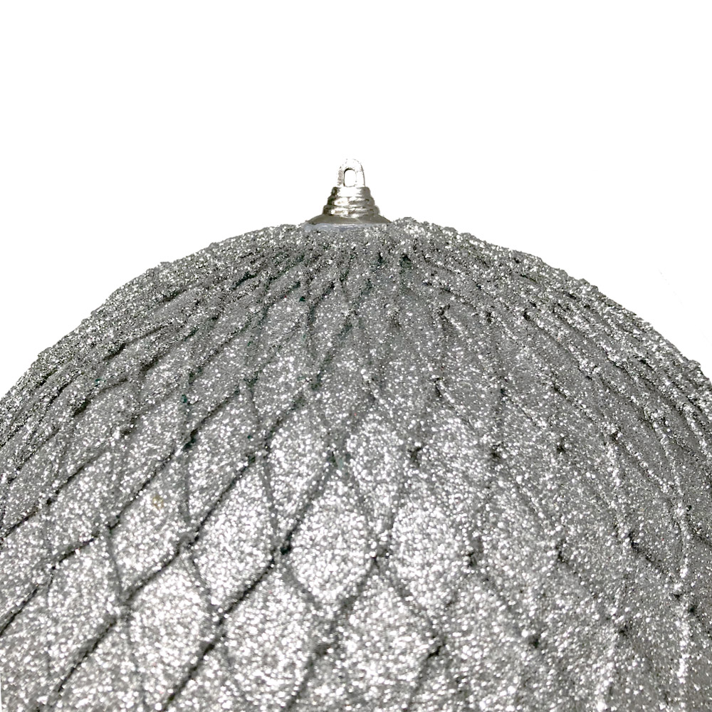 Silver Facetted Glitter Bauble - 135mm