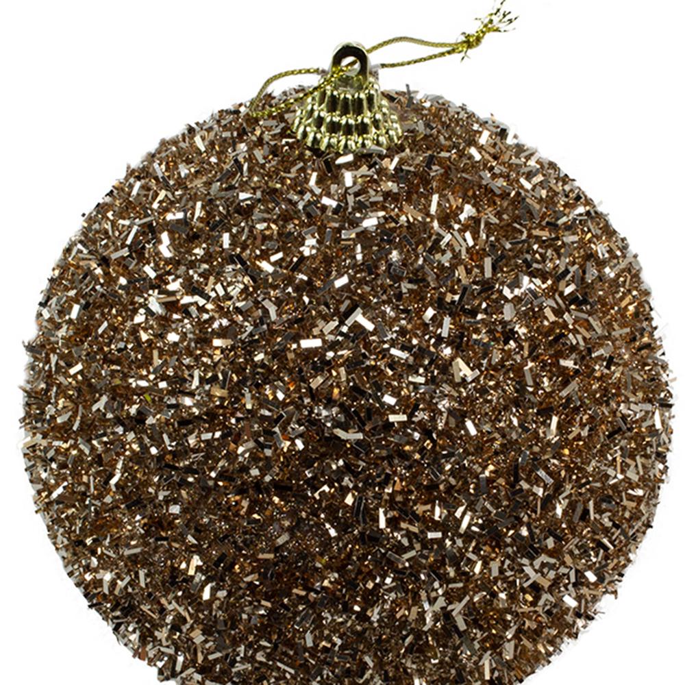 Decorative Ebony Brown Glitter Tinsel Bauble - 100mm
