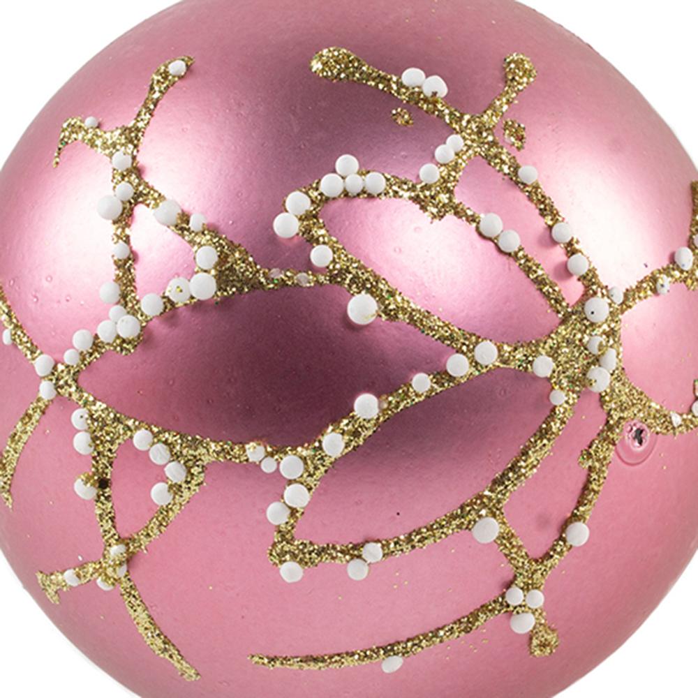 Matt Velvet Pink Shatterproof Bauble With Glitter & Pearls - 80mm