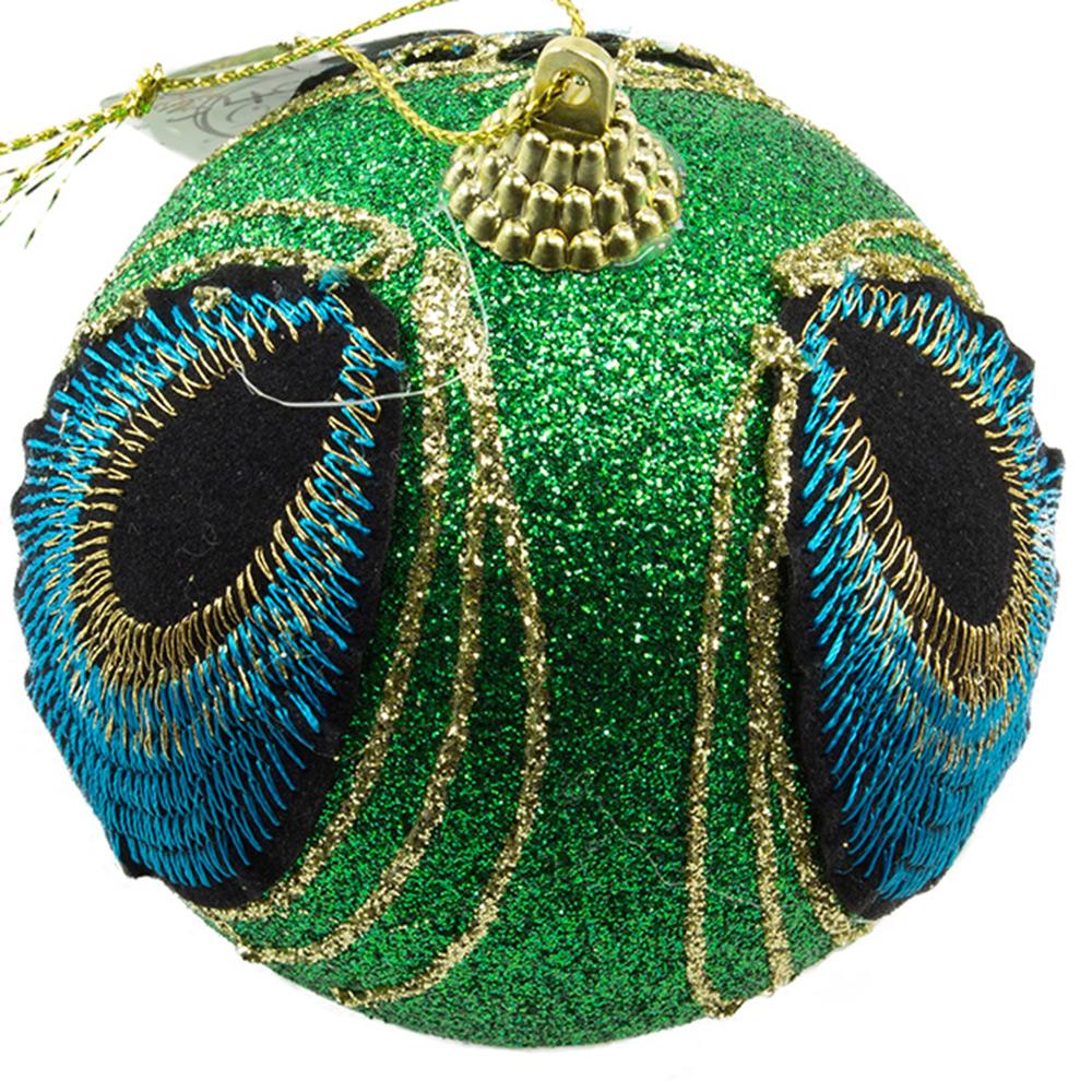 Green Glitter Finish Peacock Design Bauble - 80mm