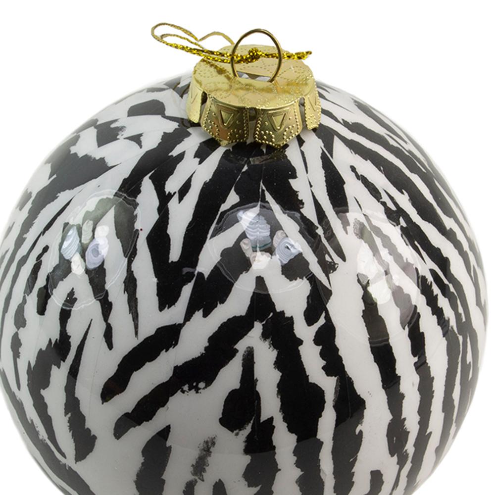 Shiny Zebra Animal Print Shatterproof Bauble - 100mm