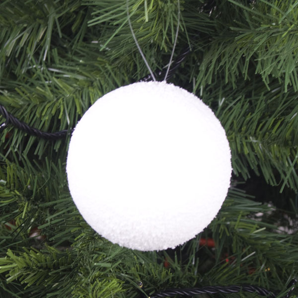 Pack Of 6 White Hanging Snowballs - 80mm